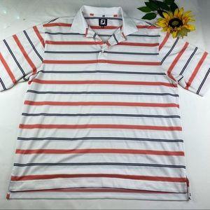 Foot Joy FJ Mens L Striped Golf Polo Shirt